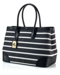 Lauren by Ralph Lauren | Black Tote - Fairfield Stripes City | Lyst