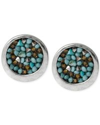 Kenneth Cole | Blue Silver-Tone Mixed Bead Round Stud Earrings | Lyst