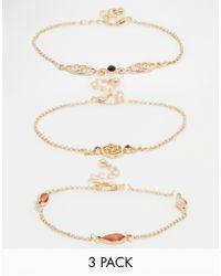 ASOS | Metallic 3 Pack Fine Chain Bracelets | Lyst