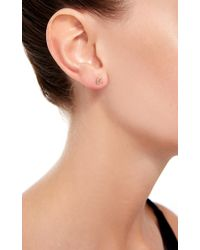 Loquet London - Metallic 14k Gold And Diamond Moon Stud Earring - Lyst