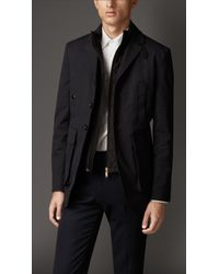 Burberry - Blue Technical Cotton Jacket With Detachable Warmer for Men - Lyst