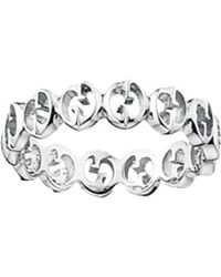 Gucci | White Interlocking Gg Silver Ring - For Women | Lyst