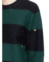 T By Alexander Wang - Green Stripe Boiled Wool Dropped Needle Stitch Sweater - Lyst