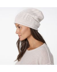 James Perse | Natural Cashmere Cable Knit Beanie | Lyst