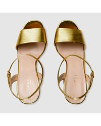 9af21f364 Gucci Metallic Leather Platform Sandal in Metallic - Lyst