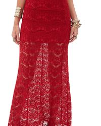Forever 21 - Red Floral Lace Maxi Dress - Lyst