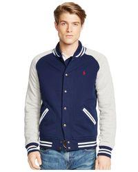 Polo Ralph Lauren | Blue Fleece Baseball Jacket for Men | Lyst