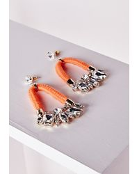 Missguided | Crystal Rope Hoop Earrings Orange | Lyst