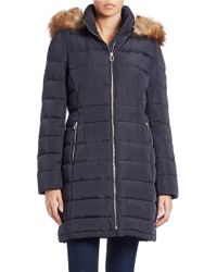 Ivanka Trump   Blue Faux-fur Hooded Coat   Lyst