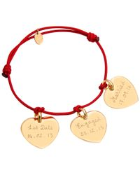 Merci Maman - Red 18ct Gold Plated Personalised Three Hearts Bracelet - Lyst