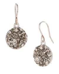 Kenneth Cole | Metallic Pave Silvertone Circle Drop Earrings | Lyst