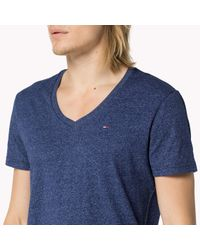 Tommy Hilfiger - Blue Cotton Blend V-neck T-shirt for Men - Lyst