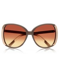 River Island - Metallic Beige Oversized Sunglasses - Lyst