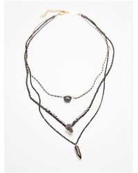 Free People - Metallic Luxe Triple Necklace - Lyst