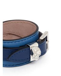 Alexander McQueen - Blue Double-wrap Leather Skull Bracelet - Lyst