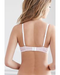 Forever 21 - Pink Lacy Cotton-blend Striped Bikini Set - Lyst