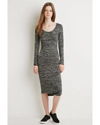 Forever 21 | Black Marled Midi Dress | Lyst