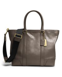 COACH - Gray Bleecker Legacy Business Tote in Leather for Men - Lyst