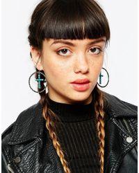 ASOS | Metallic Oversized Cross Charm Hoop Earrings | Lyst