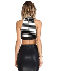 Nicholas - Black Stripe Ponti Crop Top - Lyst