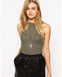 ASOS - Metallic Double Triangle Necklace - Lyst