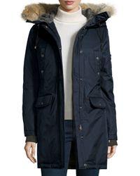 Spiewak | Blue Fur-hood Mid-length Parka Jacket | Lyst