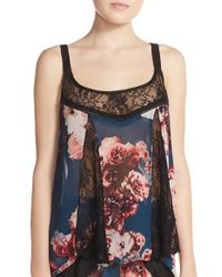 Band Of Gypsies | Blue Lace Inset Floral Camisole | Lyst