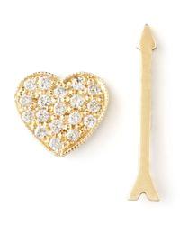 Zoe Chicco | Metallic Diamond Heart & Arrow Earrings | Lyst