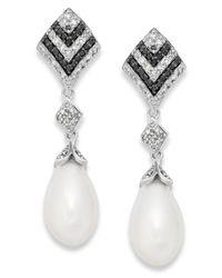 Macy's   Metallic Black And White Diamond (1/3 Ct. T.w.) And Cultured Freshwater Pearl (7mm) Earrings In Sterling Silver   Lyst
