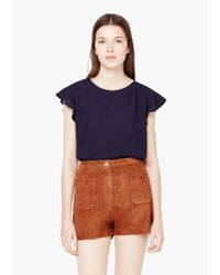 Mango - Blue Flowy Textured Top - Lyst