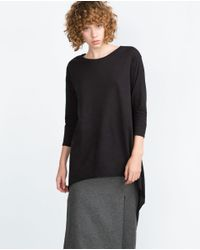 Zara | Black Long Asymmetric Top | Lyst