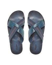 Dune | Blue Inky Slip On Casual Sandals for Men | Lyst