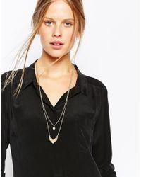 Pieces - Metallic Varsha Arrow Head & Faux Pearl Multirow Necklace - Lyst