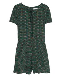 Mango - Green Printed Short Jumpsuit - Lyst