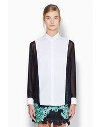 3.1 Phillip Lim - Black Tuxedo Insert Button Down Shirt - Lyst