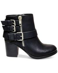 Madden Girl | Black Wicker Mid-heel Moto Booties | Lyst