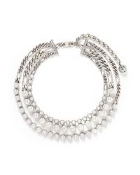Lanvin | Metallic Glass Pearl Curb Chain Necklace | Lyst