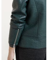 Violeta by Mango | Green Studded Biker Jacket | Lyst