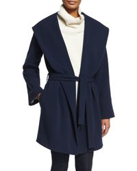 The Row - Blue Shawl-collar Crepe Belted Jacket - Lyst