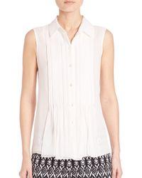 Diane von Furstenberg - White Blakely Pleated Silk Shirt - Lyst