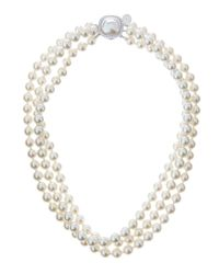 Majorica - 3-Strand Mabe-Clasp White Pearl Necklace - Lyst