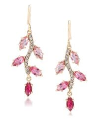 Carolee | Gold-tone Pink Multi Stone Small Chandelier Statement Earrings | Lyst