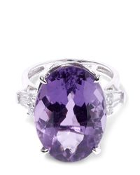 Kojis | Purple White Gold Amethyst Diamond Shoulder Ring | Lyst