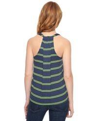 Splendid - Green Canvas Stripe Drape Back Tank - Lyst