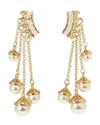 Rebecca Minkoff | Metallic Gold-Plated Faux Pearl Chain Earrings | Lyst