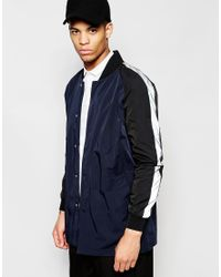 ef2919f7ed5 Lyst - ASOS Longline Bomber Jacket With White Sleeves in Blue for Men