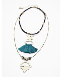 Free People | Blue Womens Threaded Tassel Short Necklace | Lyst