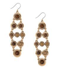 Lucky Brand | Metallic Circle Stone Drop Earrings | Lyst