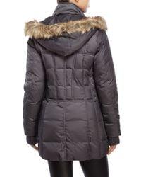 Betsey Johnson - Gray Hooded Faux Fur Trim Puffer Coat - Lyst