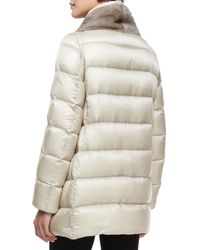Moncler - Natural Argy Fur-trim Puffer Coat - Lyst